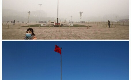 COD ROSU de alerta din cauza poluarii in China. Imagini \