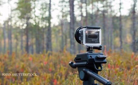 camera GoPro pe trepied