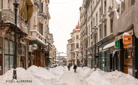 zapada pe o strada din Bucuresti