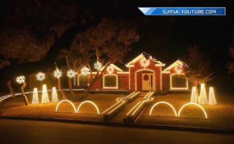 casa decorata cu lumite de Craciun