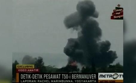 Clipe de cosmar la un show aviatic din Indonezia. Un avion s-a prabusit, sub privirile ingrozite ale celor prezenti