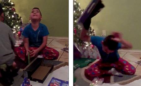 Reactia unui copil care a primit de Craciun cadoul gresit, suprinsa pe camera. \