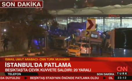 Atentate in Istanbul. Doua explozii au avut loc langa stadionul lui Besiktas: cel putin 13 morti si zeci de raniti. VIDEO