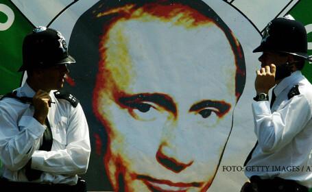 poster cu Putin in Londra