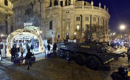 """Târgurile de Crăciun din Budapesta, """"păzite"""" cu transportoare blindate"""