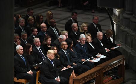Soții Trump, Obama, Clinton și Carter, la funeraliile lui George Bush Sr.