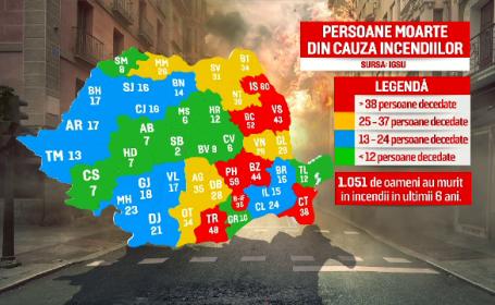 1.051 de oameni morți în flăcări, în 6 ani. HARTA incendiilor de locuințe din România