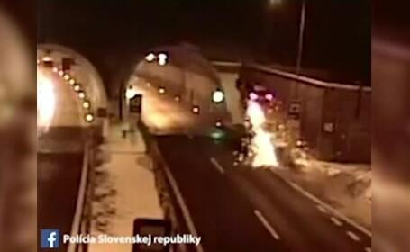 """A """"zburat"""" cu mașina și s-a izbit de un tunel. Ce i-a salvat viața unui șofer"""