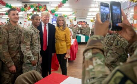 Melania și Donald Trump le-au făcut o vizită militarilor americani din Irak