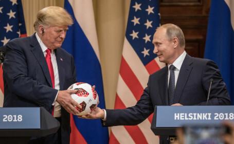 Donald Trump și Vladimir Putin la o conferință de presă comună