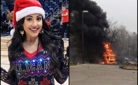 Prezentatoare TV moartă după ce un avion s-a prăbușit într-o parcare și a luat foc