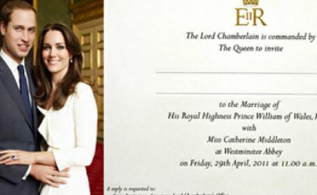 Vezi cum arata invitatia la nunta Printului William cu Kate Middleton. FOTO