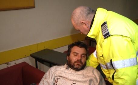 Iarna grea. Un sofer cu cateva pahare la bord a adormit in timp ce dadea declaratii politistilor