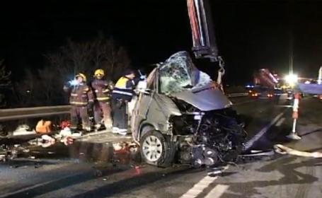 Cinci romani morti intr-un accident produs in Spania. Imagini tulburatoare de la locul tragediei