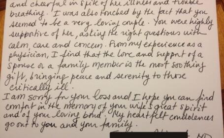 Scrisoarea emotionanta a unui medic, catre sotul pacientei pe care a incercat s-o salveze