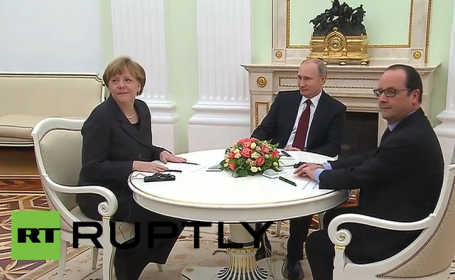 Angela Merkel, Francois Hollande, Vladimir Putin