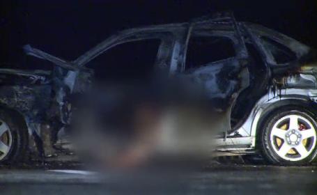 Accident cumplit pe A3. Doua persoane au murit dupa ce masina lor s-a izbit de parapeti si a luat foc, din cauze necunoscute