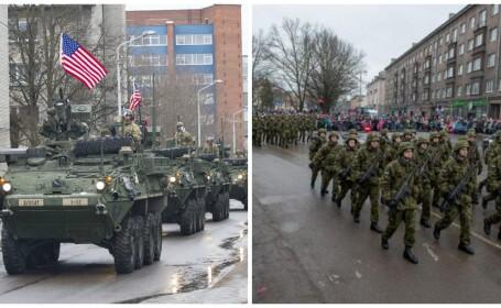 Tancuri si blindate NATO la granita cu Rusia. Cum \