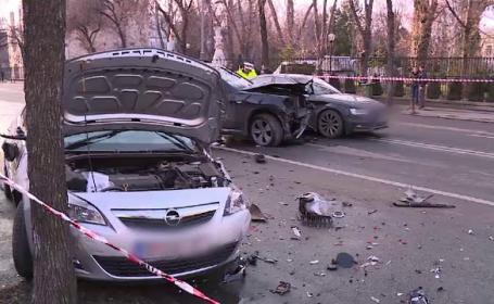 """Șoferul care a lovit trei masini, în Capitală, se certa cu soția. Femeia a spus că era """"drogat"""""""