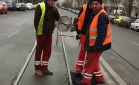 Muncitorii au asfaltat cu picioarele pe un bulevard din Iași. Scenele filmate