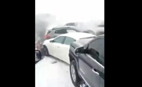 Haos pe o autostradă. 47 de mașini s-au ciocnit violent. VIDEO