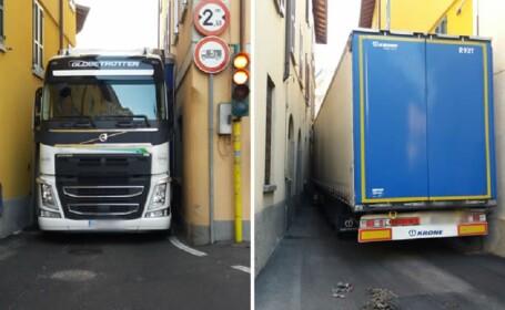 Un român a vrut să intre cu TIR-ul pe o străduță din Italia. Oamenii au sunat la poliție