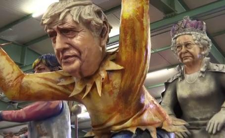 Carnavalul din Mainz. Cum sunt prezentați Boris Johnson și Regina Elisabeta a II-a