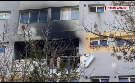 Explozie violentă, urmată de un incendiu, într-un bloc din Slatina. De la ce s-a produs