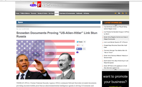 O agentie iraniana de stiri arunca bomba: Guvernul SUA e condus din umbra de extraterestri nazisti