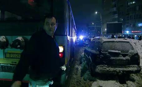 Cum a reusit un sofer din Bucuresti sa blocheze mai multe mijloace de transport timp de o ora. VIDEO