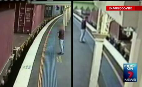 IMAGINI CAMERA DE SUPRAVEGHERE. O tanara din Australia a scapat miraculos dupa ce a sarit intr-un tren aflat in miscare