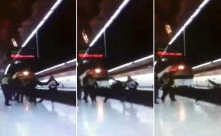 Momentul ingrozitor in care un politist este impins in fata metroului, filmat de un calator. VIDEO