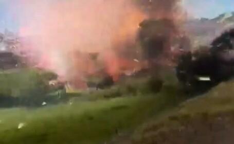 Cum arata explozia unei fabrici de artificii. VIDEO