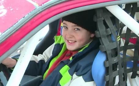 Raliul zapezii, in Maramures. Cel mai tanar pilot are 12 ani si nu se teme de curbele periculoase ale traseului