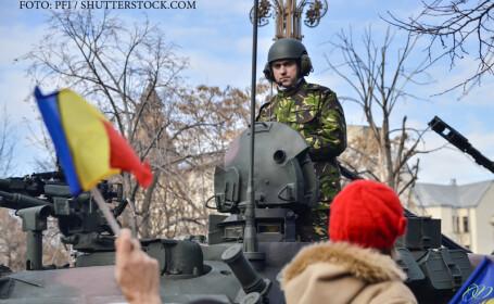 militar roman pe tanc la parada de 1 decembrie
