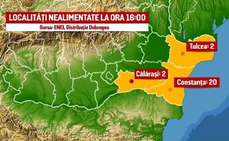 Localitati din Constanta, Tulcea si Calarasi au ramas fara energie electrica. Cu cat a crescut consumul in ultima saptamana