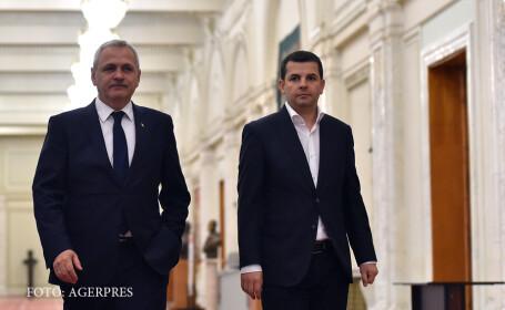 Liviu Dragnea, presedintele PSD, alaturi de Daniel Constantin (dr.), la finalul unei conferinte de presa sustinuta la Palatul Parlamentului