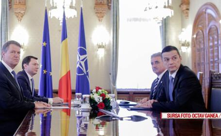 Presedintele Klaus Iohannis se intalneste cu premierul Sorin Grindeanu si ministrul Finantelor Publice, Viorel Stefan, la Palatul Cotroceni, miercuri, 11 ianuarie 2017