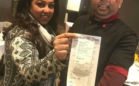 Bacsisul incredibil lasat de un irlandez la un restaurant indian pentru o nota de 79 de lire. Unde vor ajunge banii