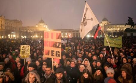 Protest în Viena. 20.000 de oameni au ieșit în stradă împotriva coaliției cu extrema dreaptă la putere