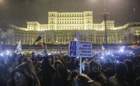 Zeci de mii de oameni au protestat în București faţă de modificarea legilor justiţiei