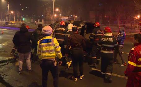 """Un șofer s-a răsturnat cu mașina, în Capitală: """"Am tras de volan și am accelerat"""""""