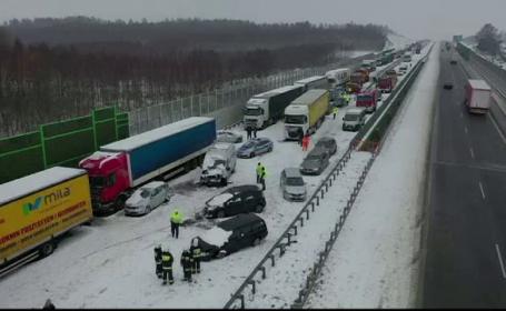 Accident în lanț pe o autostradă din Polonia, din cauza poleiului