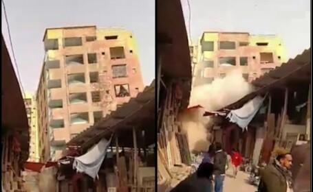 Clădire de 6 etaje se prăbușește la câteva minute după ce oamenii au văzut crăpături în pereți
