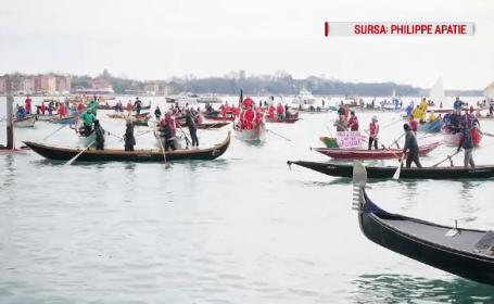 Motivul pentru care zeci de gondolieri au participat la un protest, la Veneţia