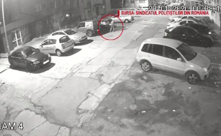 Răzbunare în stil mafiot la Reșița. Mașina unui polițist, incendiată în parcare. VIDEO
