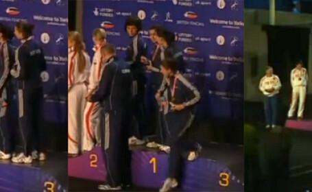 VIDEO. Cum au reactionat romancele medaliate cu aur la spada dupa ce organizatorii au gresit imnul