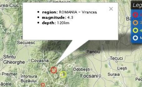 Cutremur cu magnitudinea 4,3 pe scara Richter, inregistrat joi dimineata, in Vrancea
