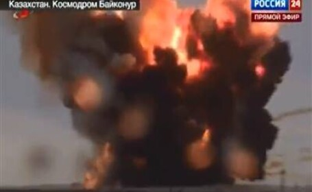 O racheta spatiala ruseasca s-a prabusit azi in Kazahstan la cateva secunde dupa lansare. VIDEO