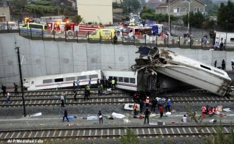 Mecanicul trenului deraiat in Spania, inculpat si eliberat sub control judiciar